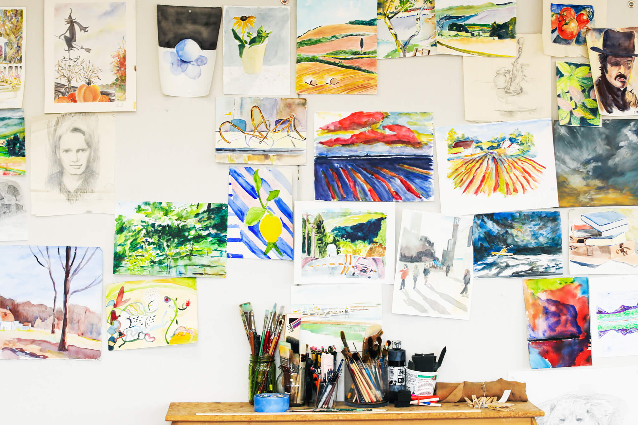 Wall of Watercolor Paintings