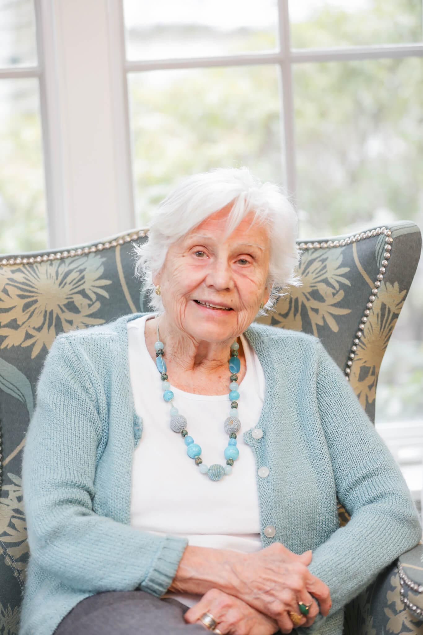 Katharine Esty Sitting in Chair